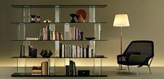 Inori libreria modulare composto da elementi in vetro o legno - Fiam