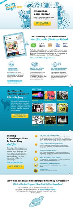 The Best Landing Page Design Examples To Inspire Your Next Layout - Social Proof - Ideas of Buying A Home Tips - Cheezeburger Example showcase your humor. Content chunks 3 CTAs social proof and strong clarity. Best Landing Page Design, Landing Page Examples, Best Landing Pages, Get Internet, Web Design, Social Proof, Funny Sites, Social Share Buttons, Dream Book