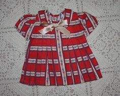 Red Print Dress for Composition Doll such as Shirley Temple 1930's