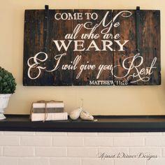 "Aimee Weaver Designs — Barn wood sign ""Come to me"" Stain Board fist. Barn Wood Signs, Custom Wood Signs, Pallet Signs, Wooden Signs, Pallet Crafts, Pallet Art, Wood Crafts, Stencil Vinyl, Stencils"