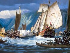ancient american ships | Herb Kane's painting of the attack on the Fair American .