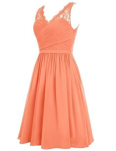 Cdress Chiffon Short Bridesmaid Dresses Lace Cocktail Gowns VNeck Homecoming Dress Champagne US 10 *  Find out more by seeing the picture web link. (This is an affiliate link). #bridesmaiddresses
