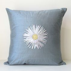 RIBBON HAND EMBRIODERED PILLOWS   Chrysanthemum Pillow in Silk Ribbon Embroidery by bstudio on Etsy