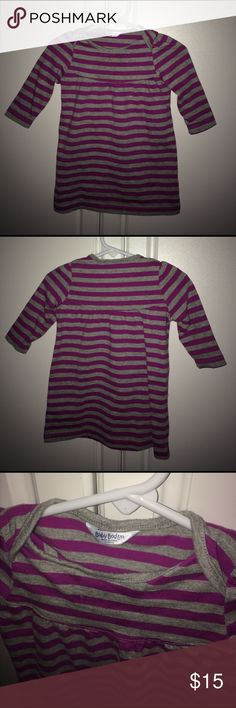 Baby Boden Striped Dress 3-6 months EUC Baby Boden Striped Dress 3-6 months. Magenta and Heather Grey. Cotton. Mini Boden Dresses Casual
