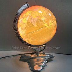 "Airplane and World Globe 17"" art deco table lamp – Frankart Deco Design #worldsfair #artdeco #decolighting #poweredflight"