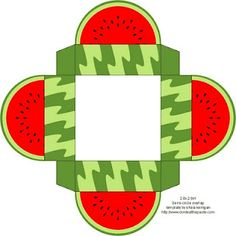 Free download/printable watermelon paper craft box