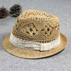 826e2d553ee Casual Style Lace Embellished Openwork Straw Hat For Women Fedora Hat Women