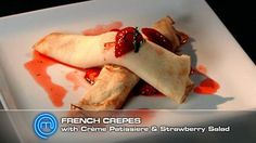 French Crepes with Creme Patissiere and Strawberry Salad. Made savoury crepes tonight with this recipe August 2013 Romantic Meals, Romantic Recipes, Masterchef Recipes, Delicious Desserts, Dessert Recipes, Masterchef Australia, French Crepes, Savory Crepes, Cooking Recipes