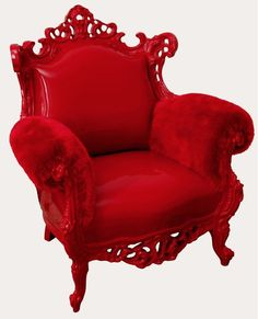 Rich, Fire Engine Red Lounging Chair With A Detailed Frame & (Faux?) Red Fur