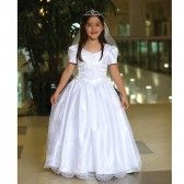 Angels Garment White Satin Organza Holy Communion Dress Girl 7-18 - SophiasStyle.com