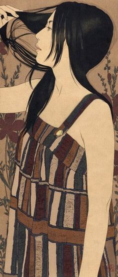 Yasunari Ikenaga  modern japanese art mineral pigment portraits