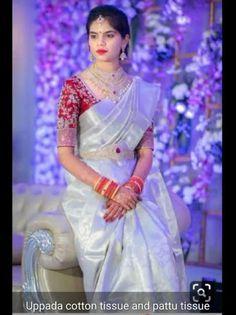 Bridal Sarees South Indian, Indian Bridal Fashion, South Indian Bride, Wedding Dresses Men Indian, Wedding Dress Men, Wedding Outfits, Wedding Wear, Wedding Sarees, Simple Blouse Designs