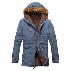 2017 Winter Jackets Coats Thick Warm Fashion Casual Windbreaker Slim Fit  Fleece Hooded Long Men Parka Coat Outerwear Size L-3XL 782698f7f12