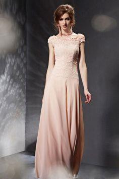 Exquisite Lace Flowers Pink Cap Sleeves Chiffon Long Formal Dress [XHC30651]- AU$ 445.93 - DressesMallAU.com ✿  ☺ ✿