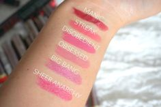 PINK URBAN DECAY VICE LIPSTICK SWATCHES MANIC, STREAK, DISOBEDIENT, OBSESSED…