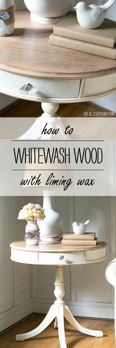 How to use liming wax to give your wood a whitewash finish - full tutorial on prep and application of liming wax Furniture painted annie sloan Drum Table Makeover Part Liming Wax - It All Started With Paint Furniture painted annie sloan Refurbished Furniture, Paint Furniture, Repurposed Furniture, Furniture Projects, Rustic Furniture, Furniture Makeover, How To Whitewash Furniture, How To Whitewash Wood, Furniture Outlet