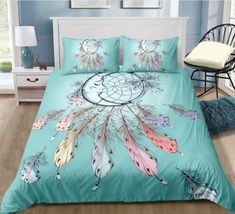Bohemian | Bohemian Shrine Double Bedding Sets, Queen Bedding Sets, Double Duvet, Blue Dream Catcher, Kings Home, Bed In A Bag, Blanket Cover, Bedroom Sets, Home Textile