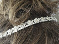 Pearl and crystal bridal hairpiece Rhinestone by BlingBaddaBoom