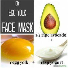 Nourishing egg yolk face mask for all skin types with avocado and yogurt. #AvocadoFaceMaskRecipe Face Scrub Homemade, Homemade Face Masks, Homemade Skin Care, Homemade Beauty, Homemade Soaps, Homemade Facials, Face Mask For Blackheads, Acne Face Mask, Face Skin