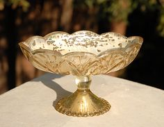 With floating candles Gold Carraway Dish Mercury Glass Centerpiece, Flower Centerpieces, White Bridal Shower, Wedding Planning Guide, Save On Crafts, Recycled Bride, Floating Candles, Reception Decorations, Dishes