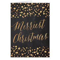 Bubbly Gold + Chalkboard Modern Christmas | Card