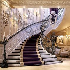 Luxo interiores - High End designers de interiores Mansion Interior, Luxury Homes Interior, Luxury Home Decor, Luxury Apartments, Luxury Houses, New Staircase, Staircase Design, Mediterranean Homes, Big Houses