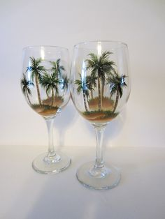 2 Hand Painted  Palm Tree Wine Glasses by EverythingPainted, $18.00