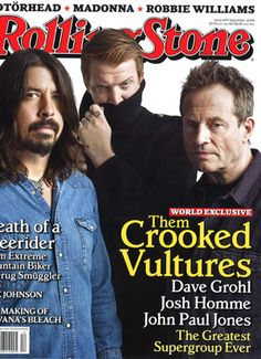 Them Crooked Vultures - Rolling Stone John Paul Jones & some other dudes… Heavy Metal, Rolling Stone Magazine Cover, Josh Homme, Stone World, John Paul Jones, Greatest Rock Bands, Robbie Williams, Music Mood, Indie Pop