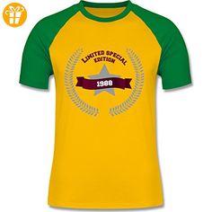 Geburtstag - 1988 Limited Special Edition - L - Gelb/Grün - L140 - zweifarbiges Baseballshirt für Männer - Shirts zum geburtstag (*Partner-Link)
