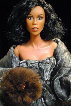 Diahann Carroll - Dynasty - Dolls by Maria Beautiful Barbie Dolls, Vintage Barbie Dolls, Original Barbie Doll, Barbie Celebrity, Diahann Carroll, Diva Dolls, African American Dolls, Black Barbie, Doll Repaint