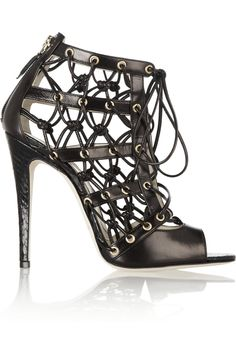 Brilliant Brian Atwood #shoeoftheday | Leather and elaphe cutout ankle boots  | NET-A-PORTER.COM