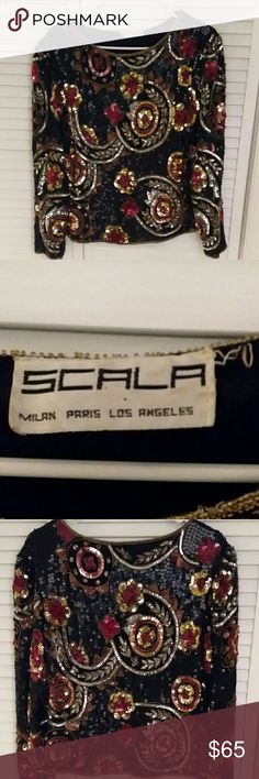 Scala sequined blouse size medium Sequined blouse by Scala size medium Scala Tops Blouses