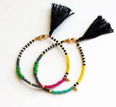 Friendship Bracelet - Gold Spike Bracelet - Layering Bracelet - Tassel Bracelet - Black and White