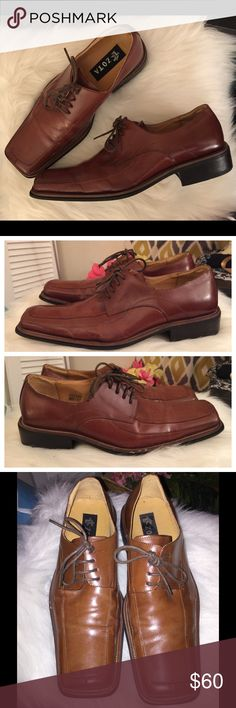 Men Zota Brown Italian Leather Dress Shoes Sz 8.5 Men's Zota Brown Italian Leather Square Toe Lace Up Dress Shoes Sz 8.5! Italian Style! Small nicks on the right side, not to bad! Zota Shoes