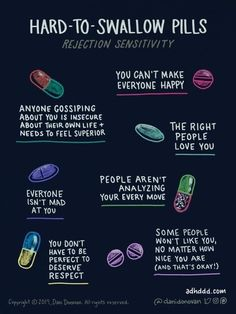 'The comics that show my life with ADHD' - Graphic entitled 'Hard to Swallow Pills' and a sub-heading of 'rejection sensitivity'. Web Comic, Affirmations, Comme Des Garcons, Mental Health Awareness, Mental Health Day, Mental Health Slogans, Mental Health Therapy, Improve Mental Health, Oral Health