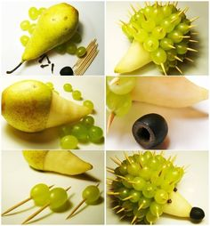 Hedgehog made from a pear, grapes and an olive