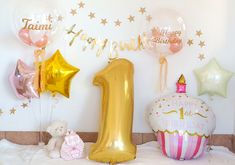 Happy 1st Birthdays, Happy Birthday, 1st Birthday Balloons, Pink, Yahoo, Party Ideas, Heart, Sweet, Baby