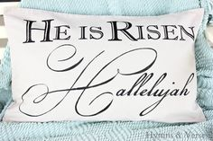 """He is Risen - Hallelujah!  16 x 24"""" Canvas Pillow Cover for Easter"""