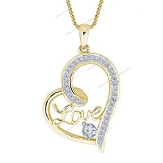 """Free Pouch Love Heart Pendant Round Cut Diamond 14K Yellow Gold Plated 18"""" Chain…"""