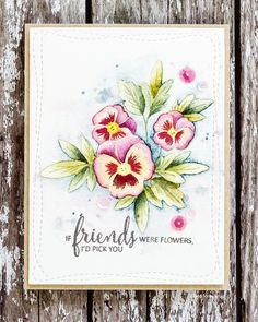 Watercoloured pansies handmade card by Debby Hughes using the Clearly Besotted Pretty Pansies set.