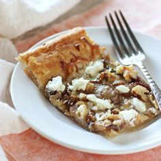 Pear, walnut and goat cheese tart. An easy holiday appetizer using puff pastry!