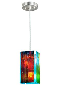 7 Inch W Metro Fusion Fire And Ice Mist Quadrato Mini Pendant. 7 Inch W Metro Fusion Fire And Ice Mist Quadrato Mini PendantFor a captivating look in residential, retail and hospitality settings, Fire & Ice highlights multiple micro-layers of metallic coated art glass that reflect Blue undertones and transmit Red overtones surrounding a blown glass cylinder. Dating back to the 4th century AD,dichroic glass displays different colorations depending on how the wavelengths of light pass through…