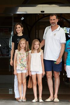 King Felipe VI of Spain, Queen Letizia of Spain and their daugthers Princess Leonor of Spain (L) and Infanta Sofia of Spain (R) arrive at the Royal Nautical Club during the last day of 34th Copa del Rey Mapfre Sailing Cup on August 8, 2015 in Palma de Mallorca, Spain