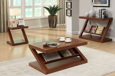 Poundex Modern Dark Oak Magazine Rack Coffee Table F6308