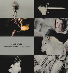 """ ⊰ fierce daughters of the north ⊱ ARYA STARK  ❝ And Arya, well…Ned's visitors would oft mistake her for a stableboy if they rode into the yard unannounced. Arya was a TRIAL, it must be said. Half a boy, half A WOLF PUP. Forbid her anything and it..."