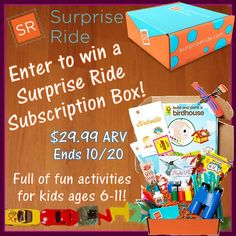 Low entry flash #giveaway! Enter to #win a #SurpriseRide subscription box, full of fun & educational activities for kids ages 6-11! Ends October 20 (11:59pm).