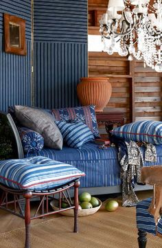 Ralph Lauren Home Indigo Isle fabric collection features ikats, florals and stripes in deep indigo, white and sepia hues