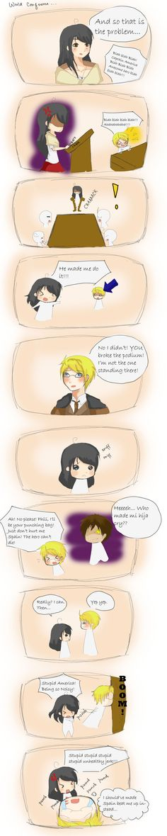 Philippines in the World Meeting. It's your fault America san. <<< I'm Phil-Am and this happens all the time in my English classes (minus the punching) Hetalia Philippines, Hetaoni, Hetalia Funny, Hetalia Characters, My Heart Is Breaking, More Fun, Fandoms, America, Deviantart