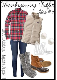 Bean boots, jeans, flannel, Patagonia vest, pearls