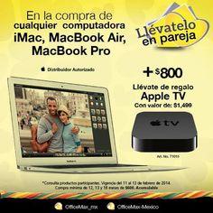 Ofertas OfficeMax Llèvatelo en pareja Ofertas OfficeMax:Consiente a tu otra mitad en este San Valentín aprovecha estas promociones especiales que OfficeMax tiene para tí:  En la compra de cualquier computadora iMac, MacBook Air o MacBook Pro más $800 llévate de regalo Apple TV En la compra de La... -> http://www.cuponofertas.com.mx/oferta/ofertas-officemax-llevatelo-en-pareja/